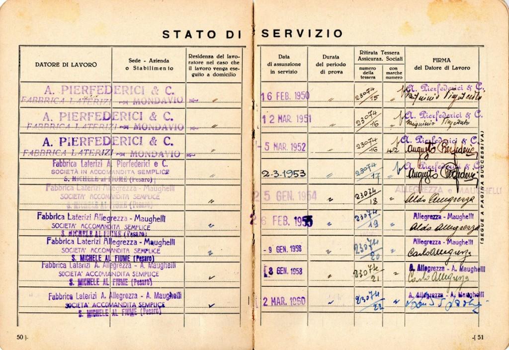 Una pagina di un libretto di lavoro di un operaio, dove si nota il cambiamento di ragione sociale e amministrazione.