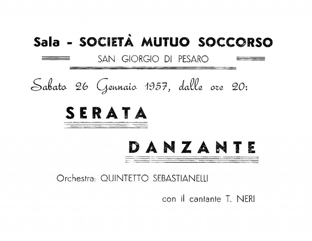 La locandina di una Serata Danzante con l'orchestra Quintetto Sebastianelli, a San Giorgio di Pesaro