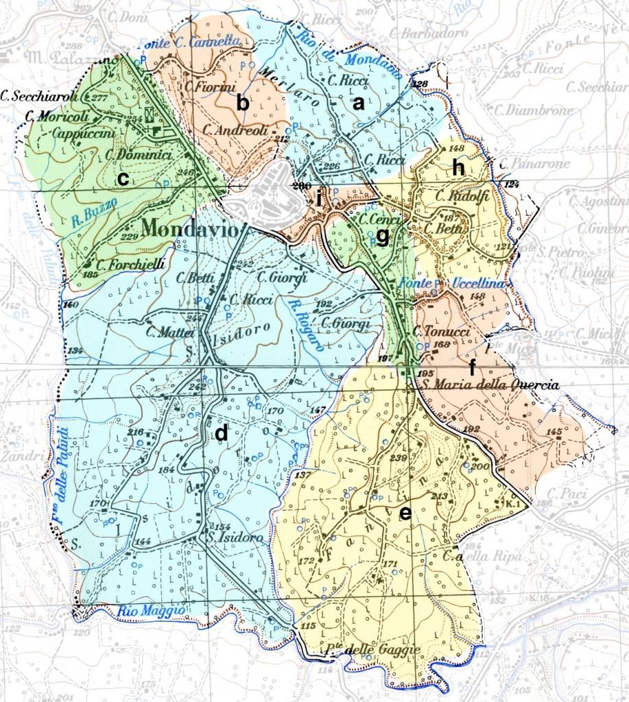 Mappa della zona 2 (Merlaro, Cannella, Ex-Cappuccini, S. Isidoro, Fantina, Sagramento, Cionara, Bottaccio, Piaggia)