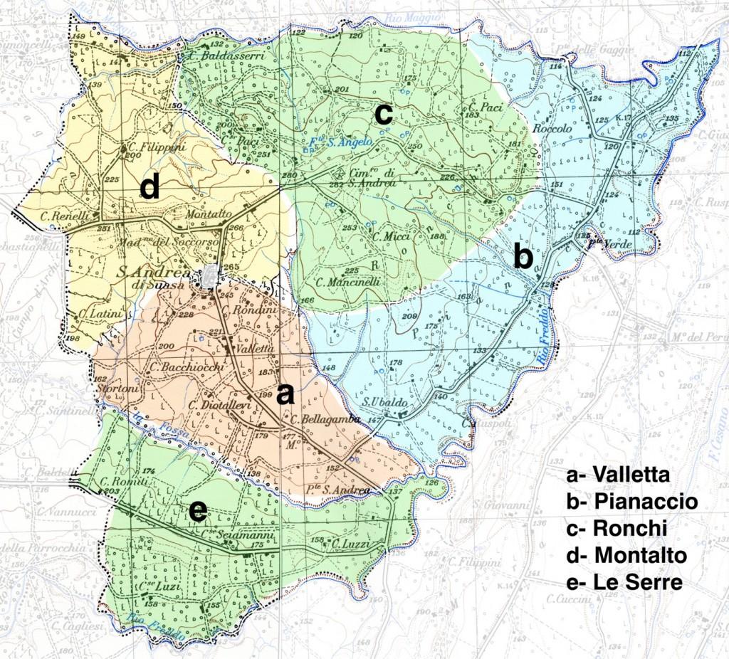 Mappa della zona 8 (Valletta, Pianaccio, Ronchi, Montalto, Le Serre)