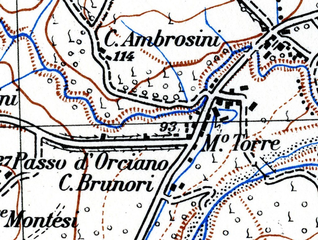 Il Passo d'Orciano nella mappa IGM del 1948