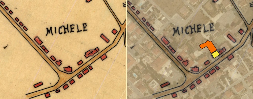 Mappa: confronto tra ubicazione tra la vecchia e nuova chiesa.