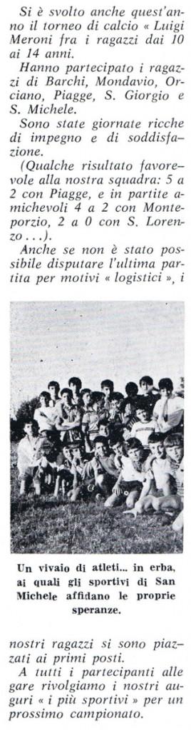 """1969 - resoconto del tornei Meroni, da """"Regina Pacis"""""""