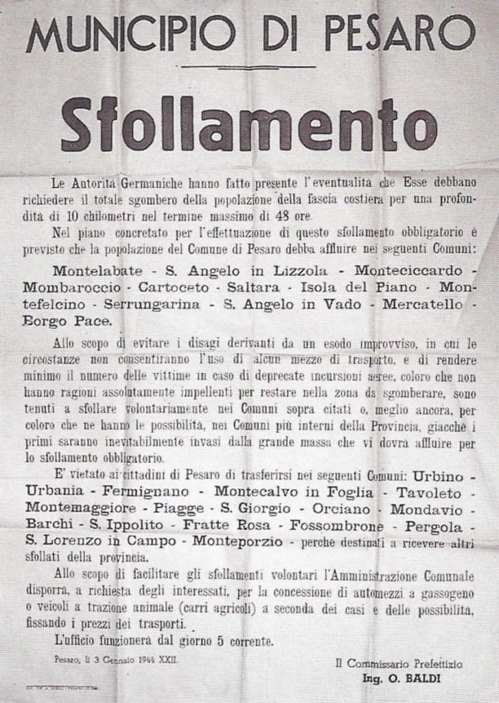 1944 - un avviso del municipio di Pesaro per lo SFOLLAMENTO obbligatorio