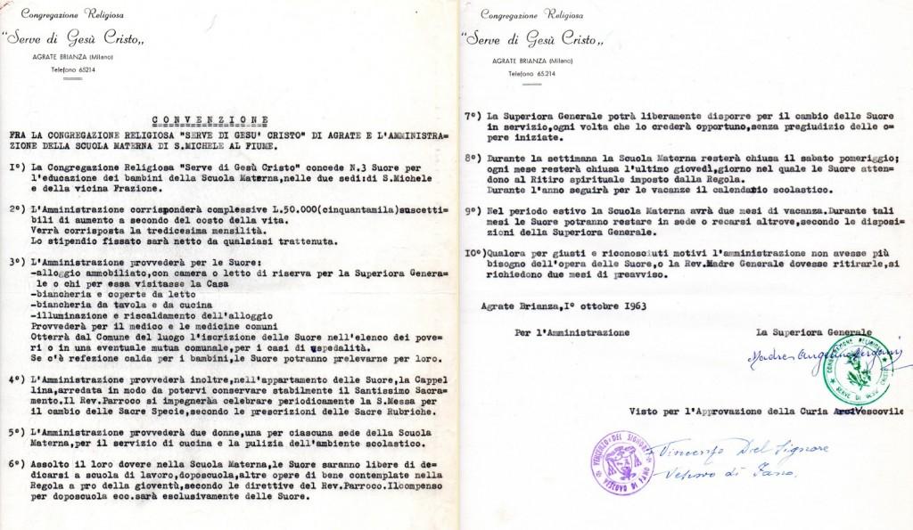 1963 - Convenzione con la Congregazione delle Seve di Gesù Cristo