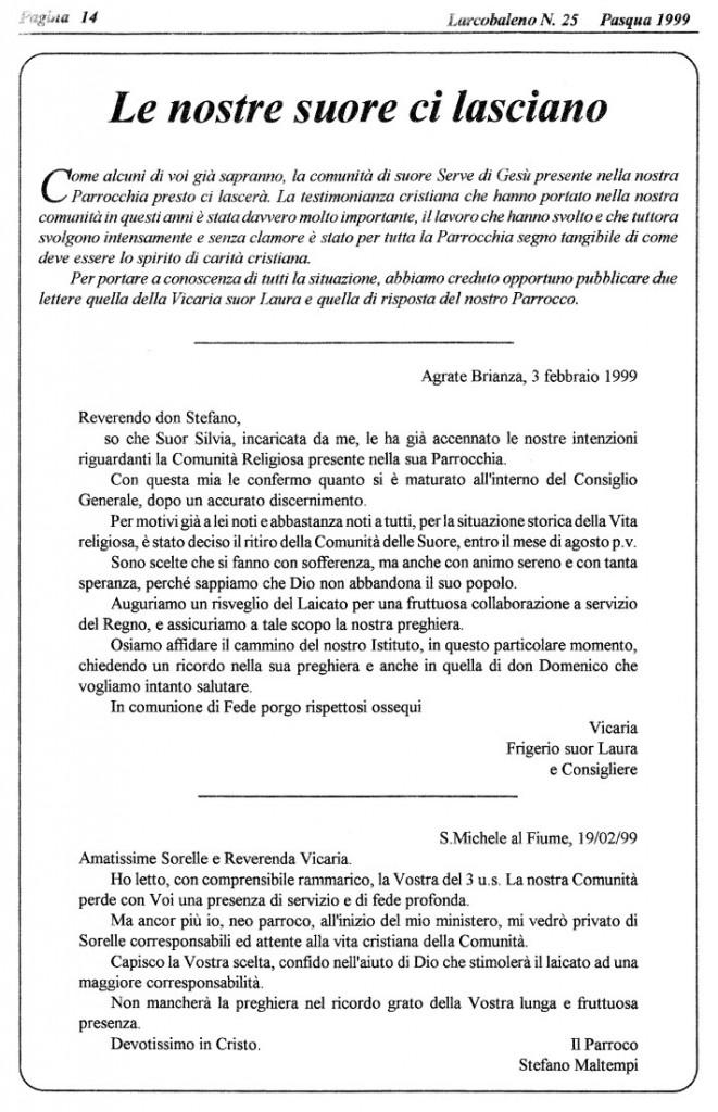 1999 - l'annuncio del ritiro delle suore, da Larcobaleno
