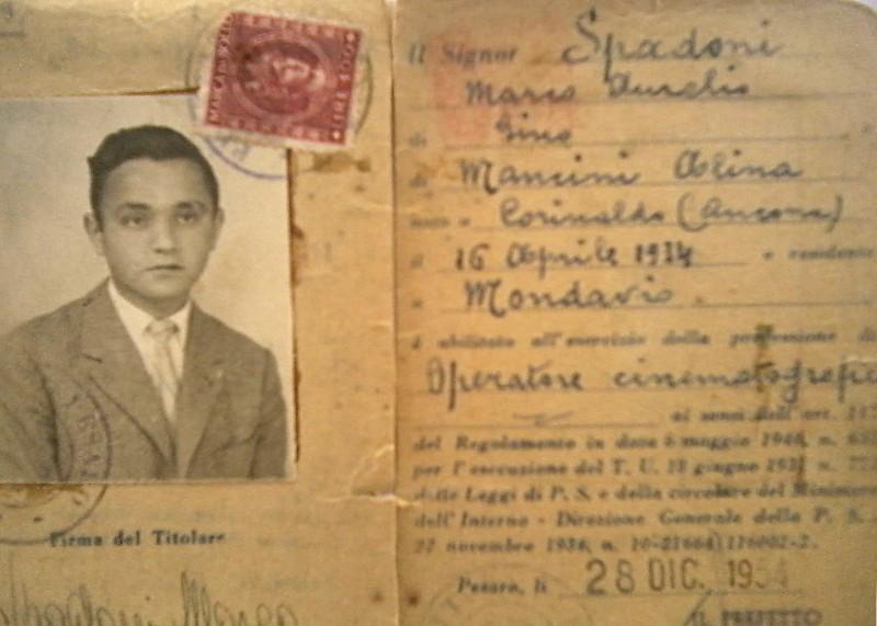 1954 - patente di abilitazione a operatore cinematografico rilasciata a Marco Spadoni