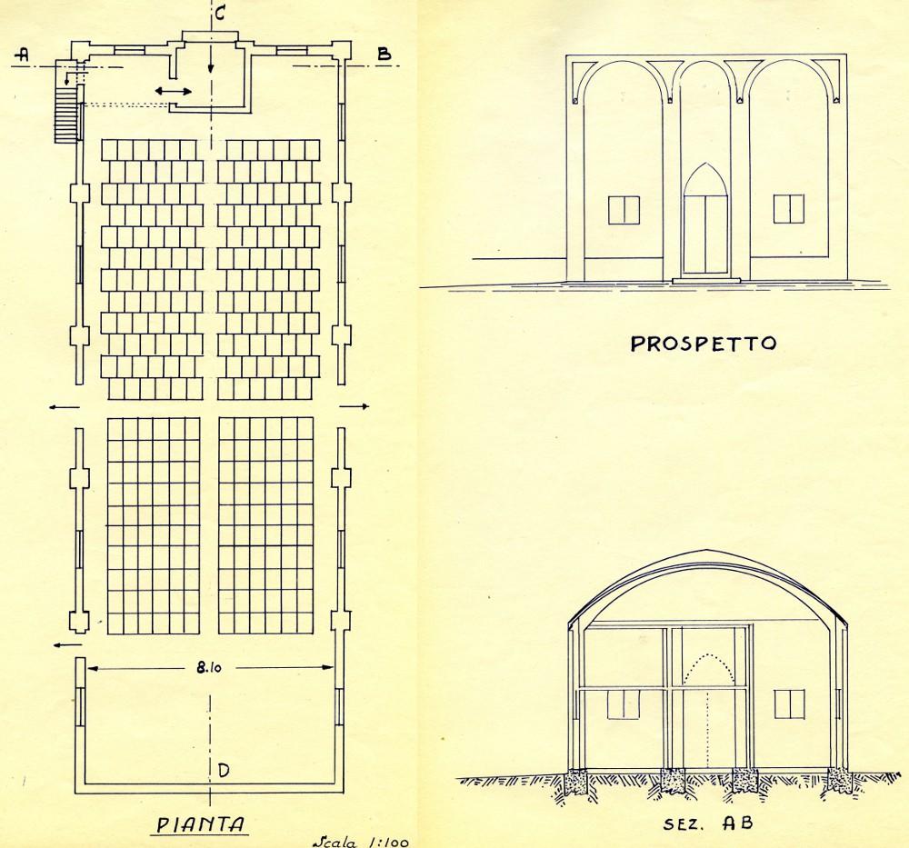 1956 - disegno del cinema parrocchiale di San Michele - pianta, prospetto e sezione AB