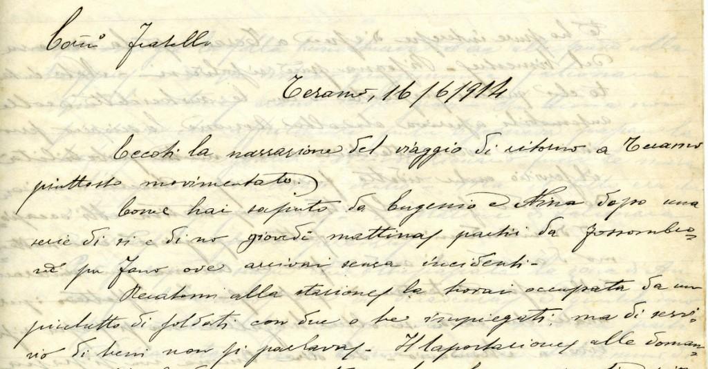 L'intestazione della lettera scritta il 16/06/1914