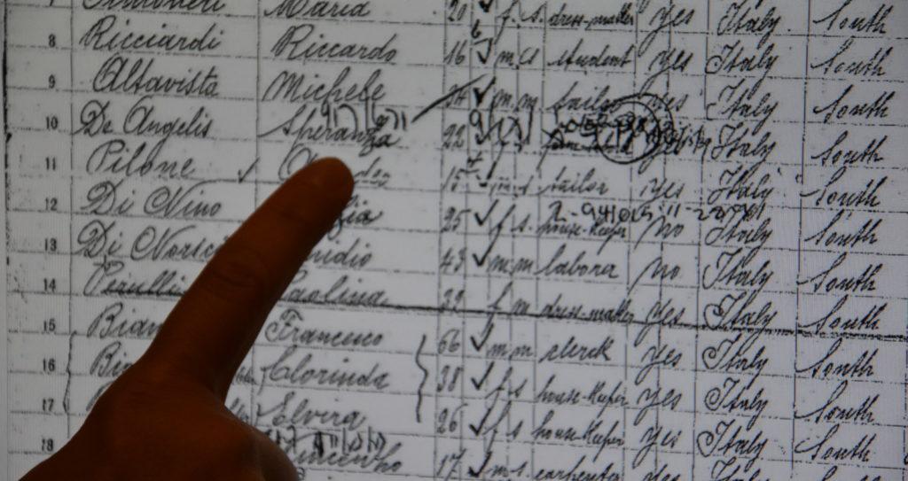 Speranza De Angelis registrata tra gli sbarcati a Ellis Island (New York)
