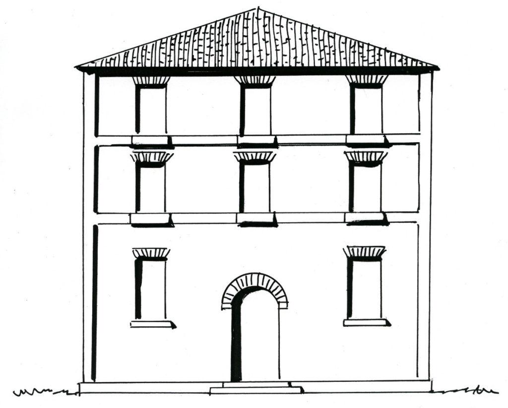 Ricostruzione grafica della nuova casa edificata nel 1884