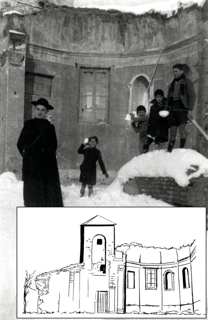 1938 - Il rudere dell'abside della vecchia chiesa