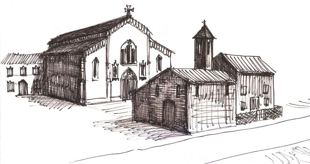 Posizione della chiesa antica rispetto all'attuale
