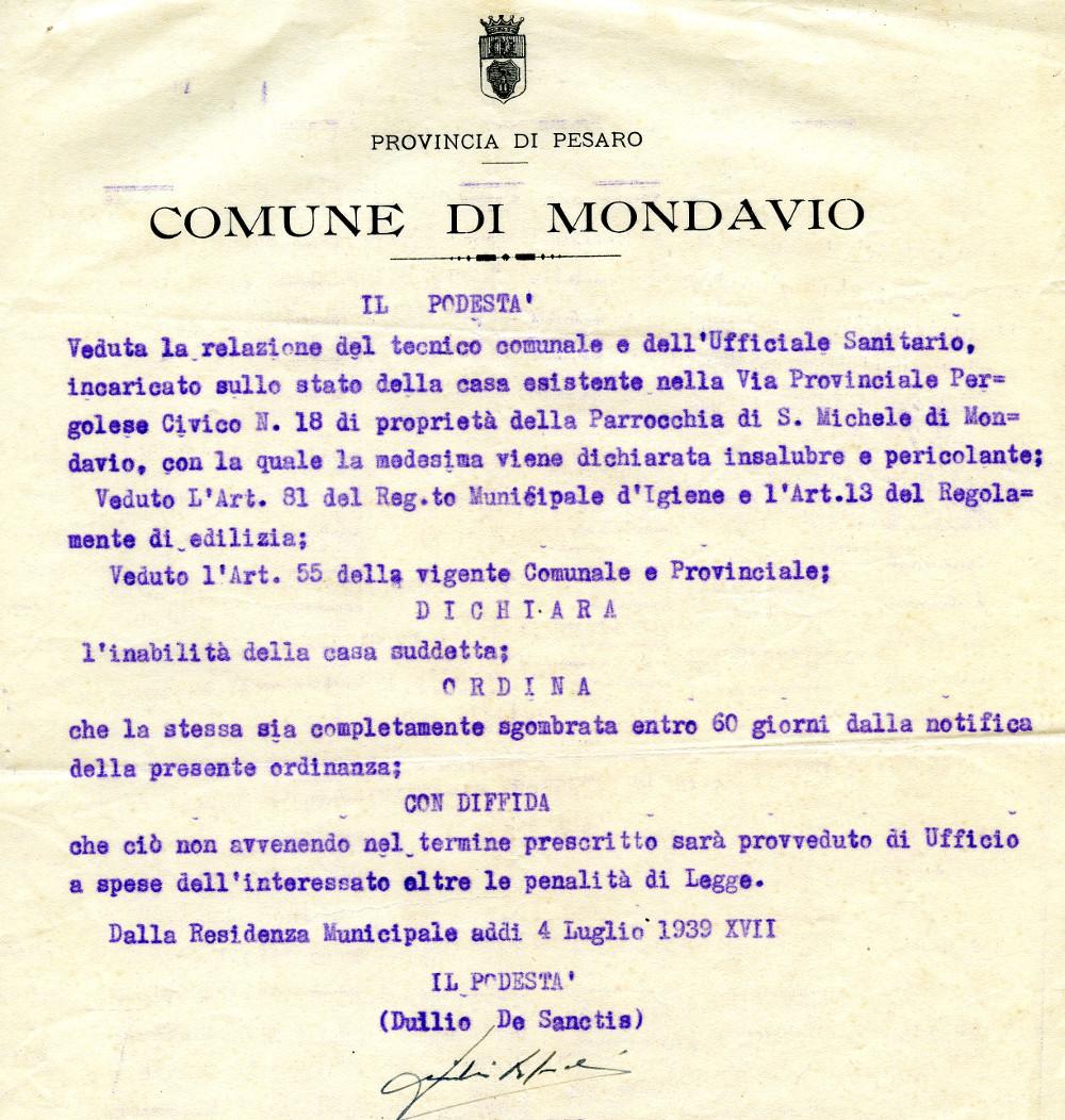 Ordinanza podestà di Mondavio - 1939