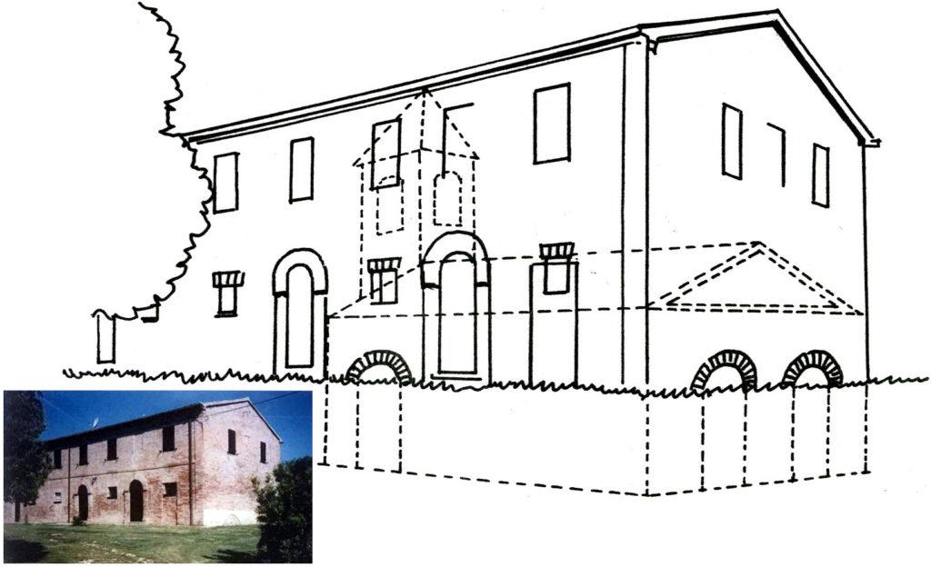 Posizione dell'antica cappella rispetto all'edificio attuale - vista da est
