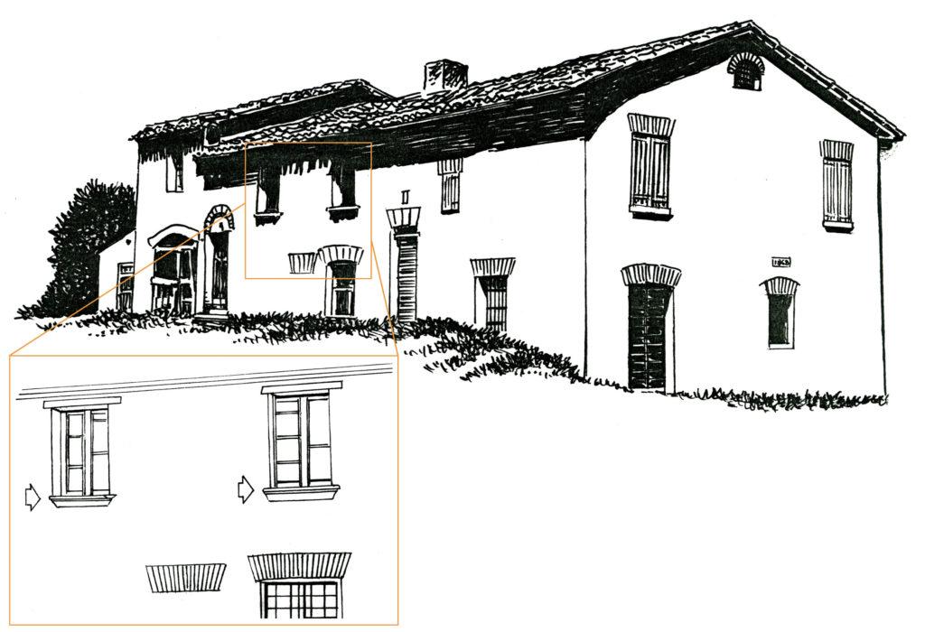 Dettaglio dei particolari architettonici della casa colonica attualmente presente sul colle del Castellaro