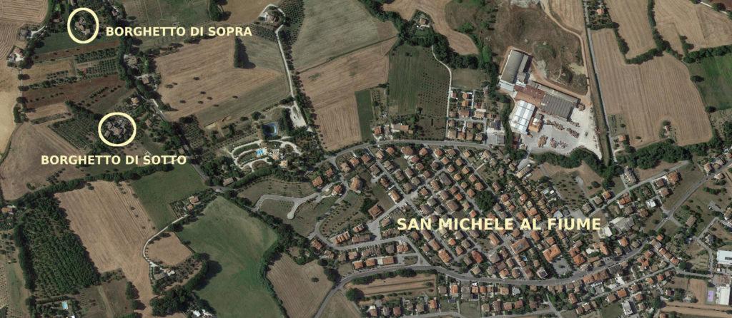Vista satellitare della posizione dei borghetti rispetto a San Michele
