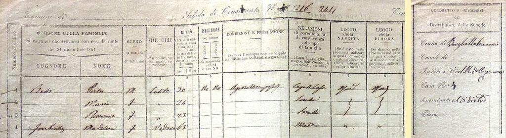 1861 - Scheda di censimento della famiglia di Pietro Betti